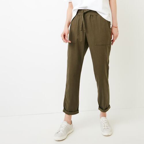 Roots-Women Pants-Essential Pant-Fatigue-A