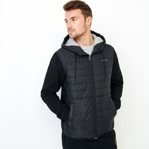 Roots-Men Outerwear-Roots Hybrid Hooded Jacket-Black-A