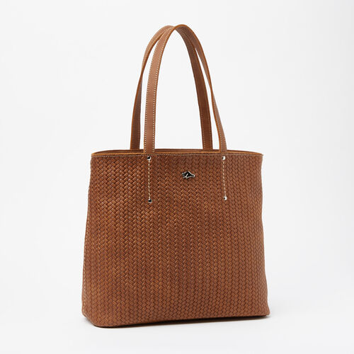 Roots-Winter Sale Leather-Downtown Zip Tote Woven Tribe-Natural-A