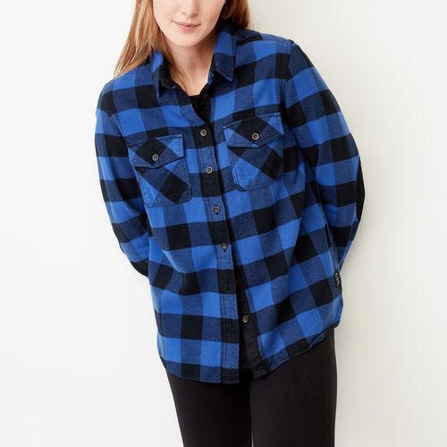 Roots-Winter Sale Women-Park Plaid Shirt-Cobalt Blue-A