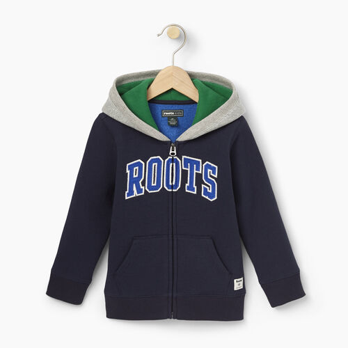 Roots-Clearance Kids-Toddler Plated Fleece Full Zip Hoody-Navy Blazer-A