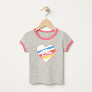 Roots-Kids Baby Girl-Baby Cooper Rainbow Ringer T-shirt-Grey Mix-A