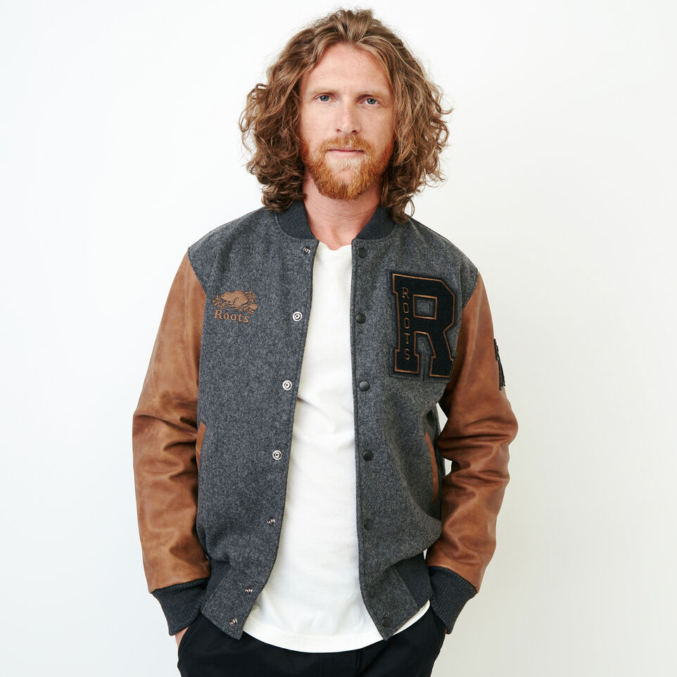 Roots-Leather  Handcrafted By Us Award Jackets-Roots Script Award Jacket-Charcoal-A