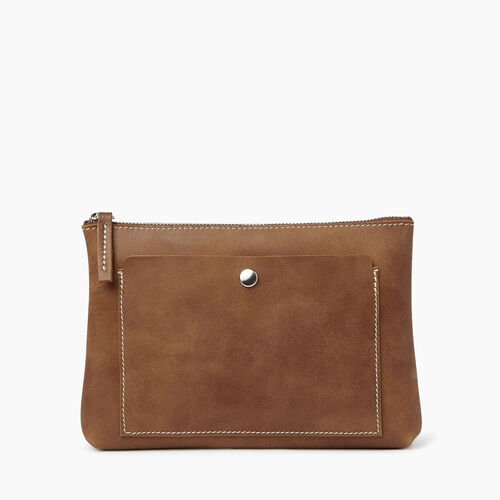 Roots-Leather Collections-Carrier Pouch-Natural-A