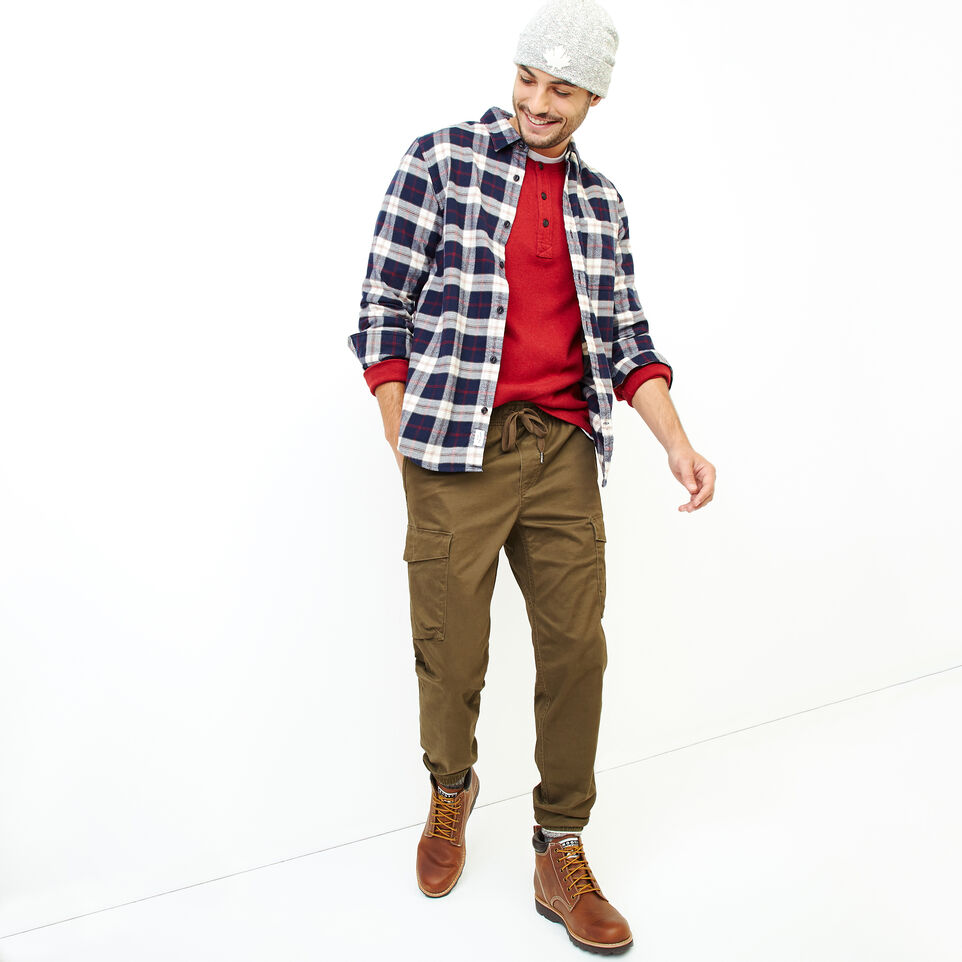 Roots-Men Clothing-Manning Flannel Shirt-Navy Blazer-B