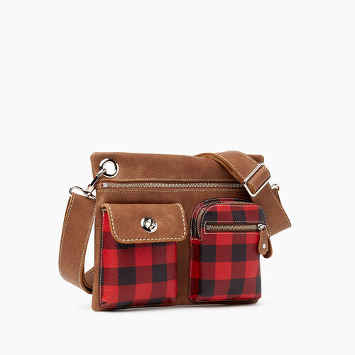 Roots-Leather Park Plaid Leather-Park Plaid Village Bag-Cabin Red-A