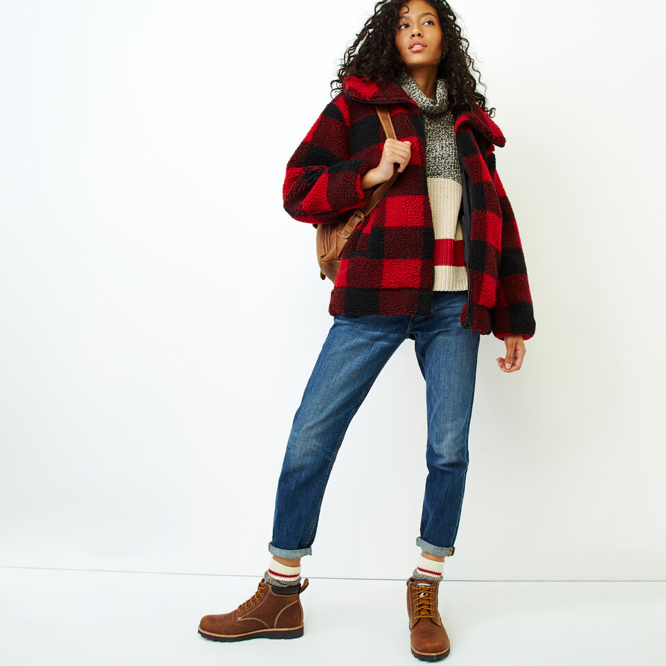 Roots-Women Our Favourite New Arrivals-Park Plaid Sherpa Jacket-Lodge Red-B