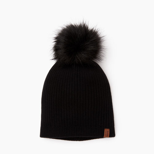 Roots-Women Categories-Robson Faux Fur Pom Pom Toque-Black-A