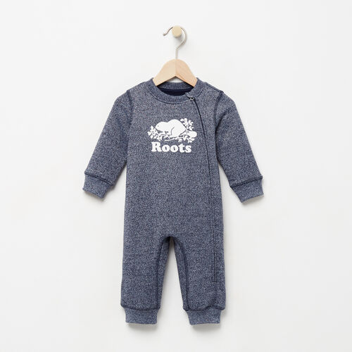 Roots-New For August Baby-Baby Original Cooper Beaver Romper-Navy Blazer Pepper-A