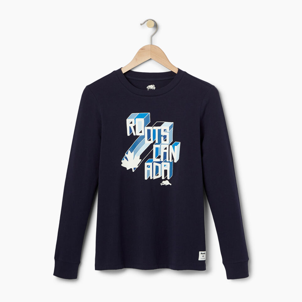 Roots-Women Our Favourite New Arrivals-Womens Multi- Colour Roots Long Sleeve T-shirt-Navy Blazer-A