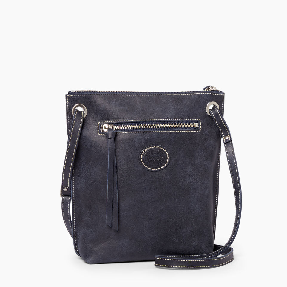 Roots-Leather  Handcrafted By Us Handbags-Festival Bag Tribe-Dark Navy-C