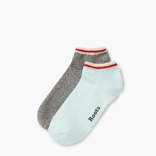 Roots-Women Accessories-Womens Cotton Cabin Ped Sock 2 pack-Aquifer-A