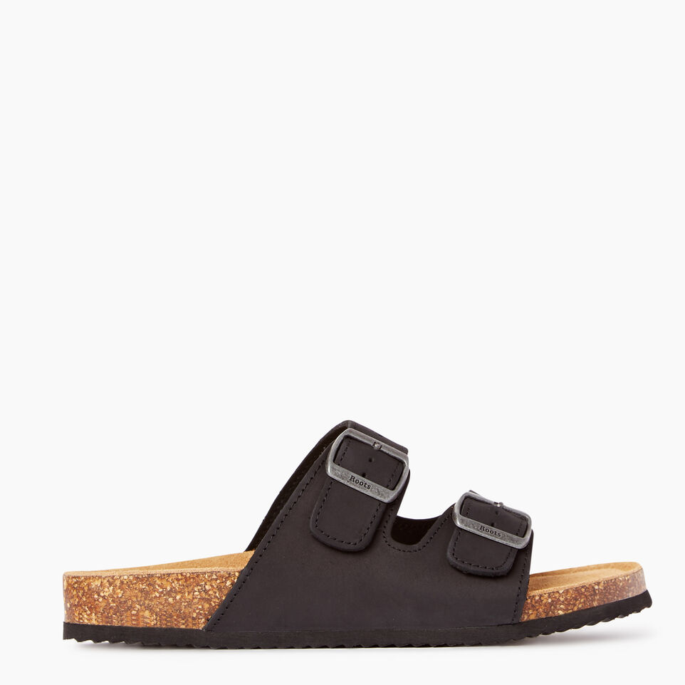 Roots-Footwear Our Favourite New Arrivals-Mens Natural 2 Strap Sandal-Black-A