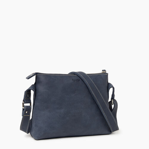 Roots-Leather Handbags-Journey Crossbody Tribe-Navy-A