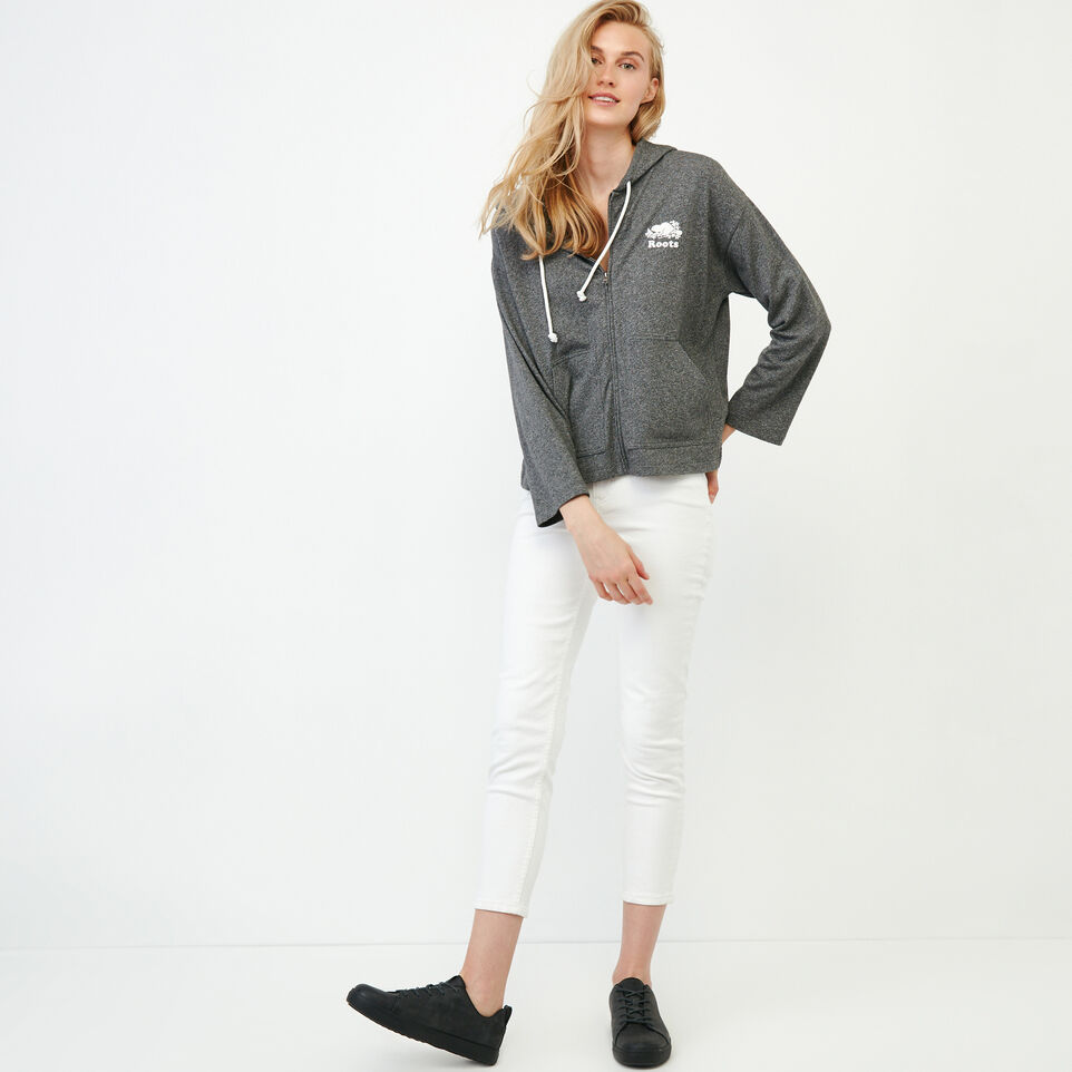 Roots-Women New Arrivals-Summerside Zip Hoody-Salt & Pepper-B