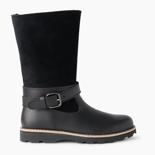 Roots-Footwear New Arrivals-Womens Rollover Sherpa Boot-Black-A