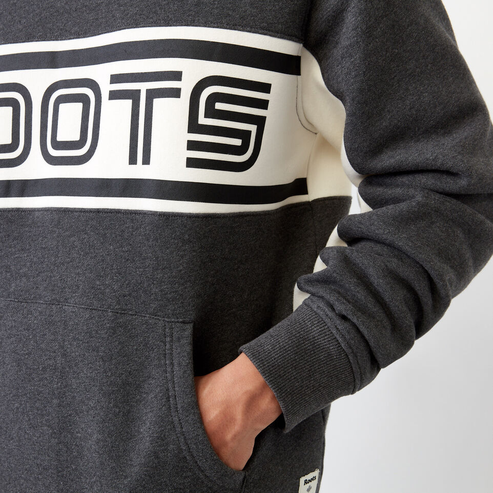 Roots-Clearance Men-Ribbon Kanga Hoody-Charcoal Mix-E