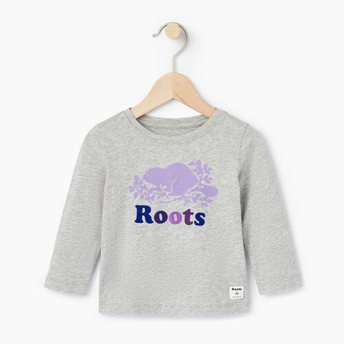 Roots-Kids Baby-Baby Original Cooper Beaver T-shirt-Grey Mix-A