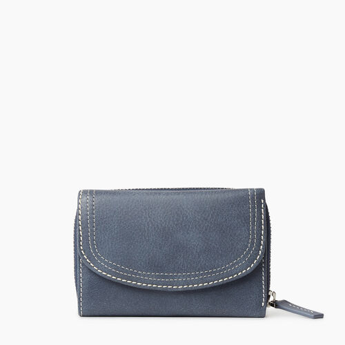 Roots-Leather Tribe Leather-Small Canmore Wallet Tribe-Navy-A