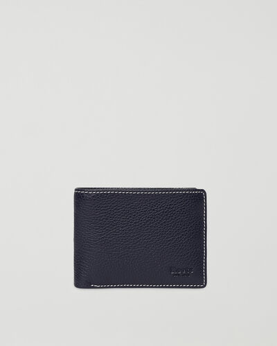 Roots-Leather Men's Wallets-Mens Slimfold Sideflap Cervino-Navy-A