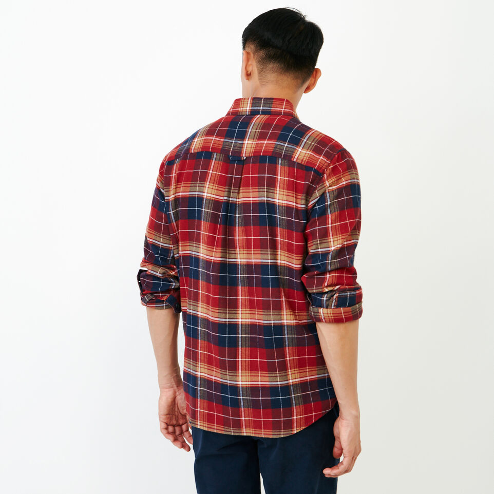 Roots-Men New Arrivals-Rivers Flannel Shirt-Sundried Tomato-D