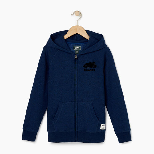 Roots-Clearance Kids-Boys Original Full Zip Hoody-Active Blue Pepper-A
