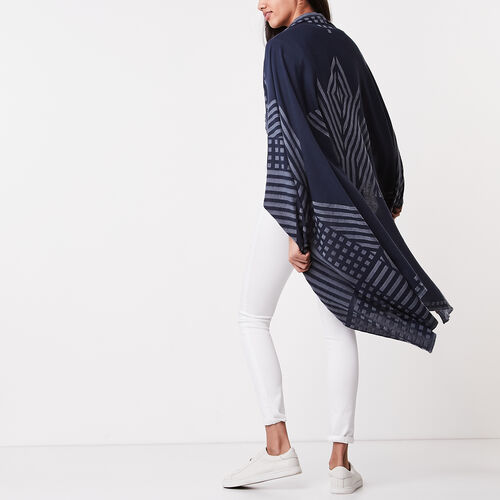 Roots-Women Scarves & Wraps-Abstract Flag Scarf-Cascade Blue-A