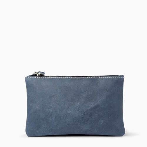 Roots-Leather Leather Accessories-Medium Zip Pouch Tribe-Navy-A