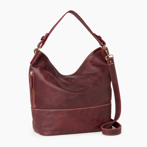 Roots-Leather  Handcrafted By Us Our Favourite New Arrivals-West End Hobo-Crimson-A