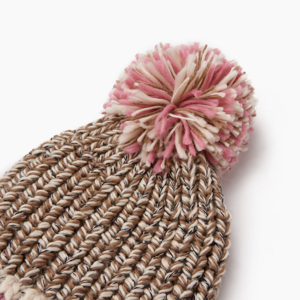 Roots-Women Hats-Chunky Cabin Pom Pom Toque-Fawn Taupe Mix-F