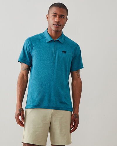 Roots-New For This Month Journey Collection-Journey Zip Polo-Lake Blue Mix-A