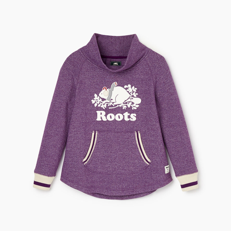 Roots-Kids New Arrivals-Girls Buddy Cozy Fleece Pullover-Grape Royale Pepper-A