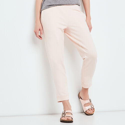 Roots-Women Cropped Sweatpants-Embroidery Crop Sweatpant-Pale Blush-A