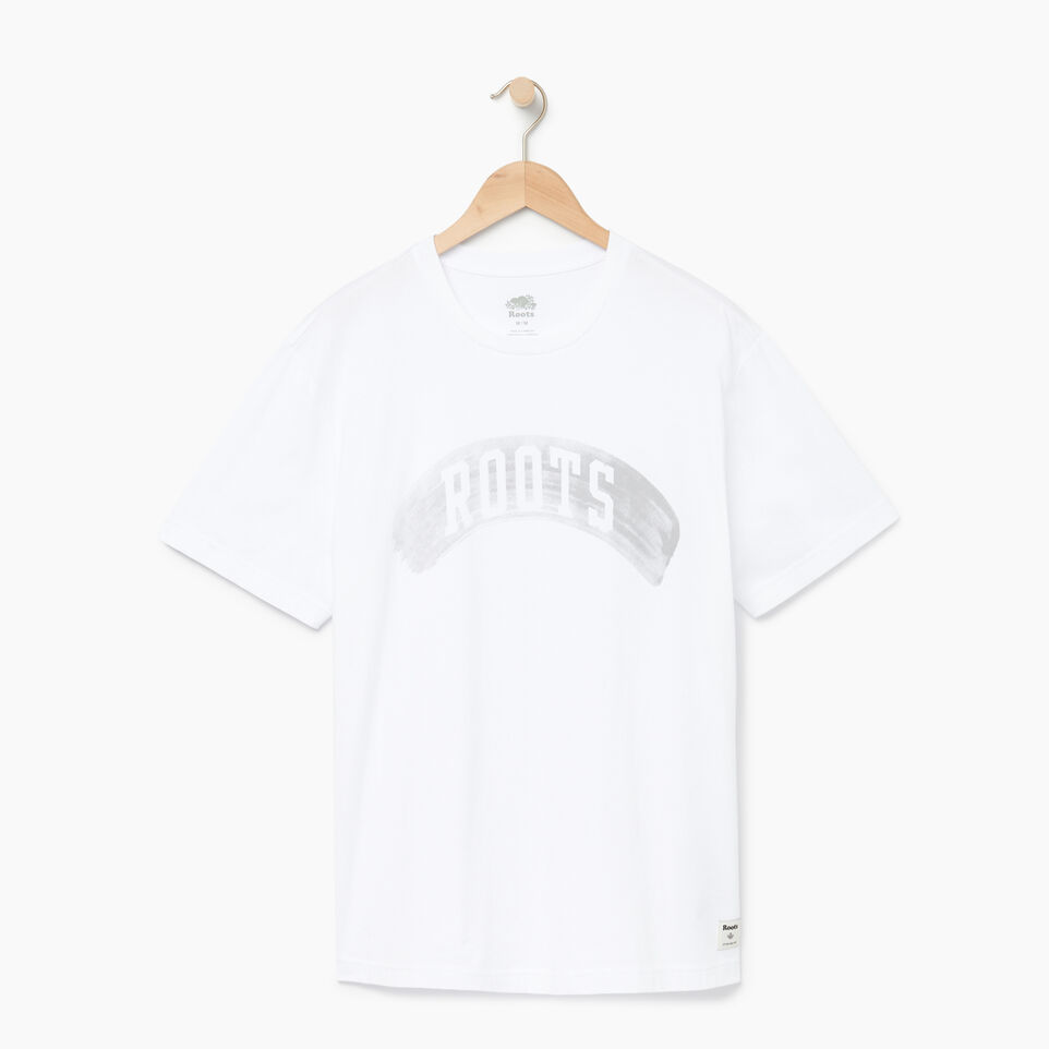 Roots-New For August Men-Mens Brushed Arch T-shirt-Crisp White-A