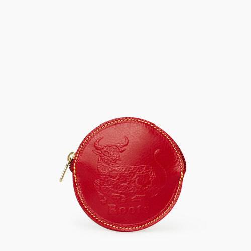 Roots-Women Leather-Ox Coin Pouch Prince-Red-A