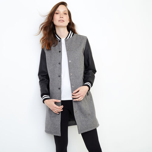 Roots-Leather  Handcrafted By Us Women's Award Jackets-Long Sorority Coat-Grey-A