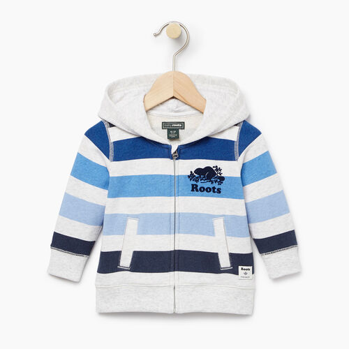 Roots-Kids Tops-Baby Ombre Stripe Full Zip Hoody-White Mix-A