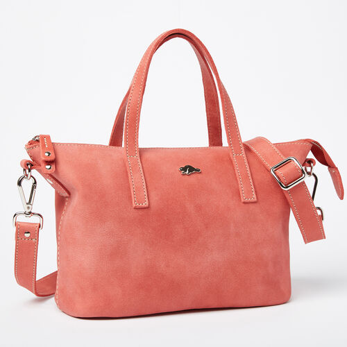 Roots-Leather New Arrivals-Small Zoe Bag Tribe-Coral-A