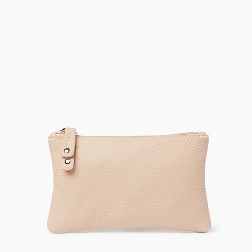 Roots-Leather  Handcrafted By Us Leather Accessories-Medium Zip Pouch Prince-Pink Mist-A