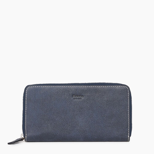 Roots-Leather Categories-Zip Around Clutch Tribe-Navy-A