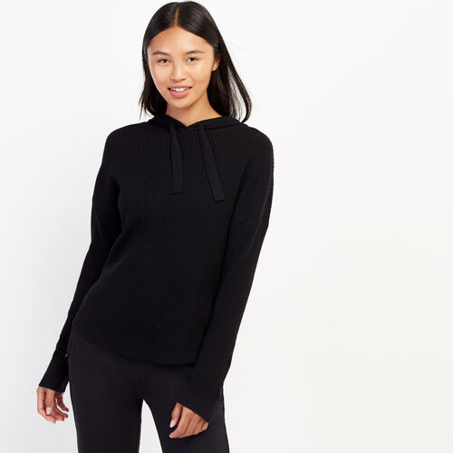 Roots-Women Sweaters & Cardigans-Welland Rib Hoody-Black-A