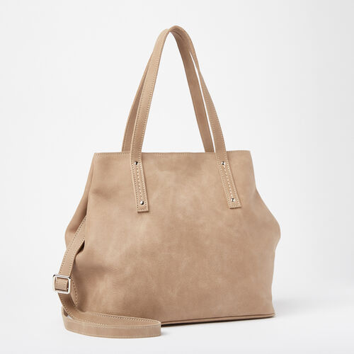 Roots-Leather Totes-Amelia Tote Tribe-Sand-A