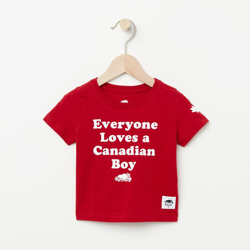 Roots-Kids Baby-Baby Canadian Boy T-shirt-Sage Red-A