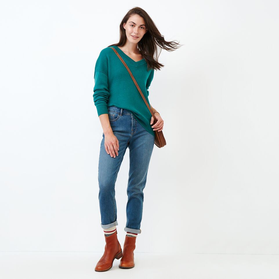 Roots-Women Categories-Alma V Neck Sweater-Teal Green-B