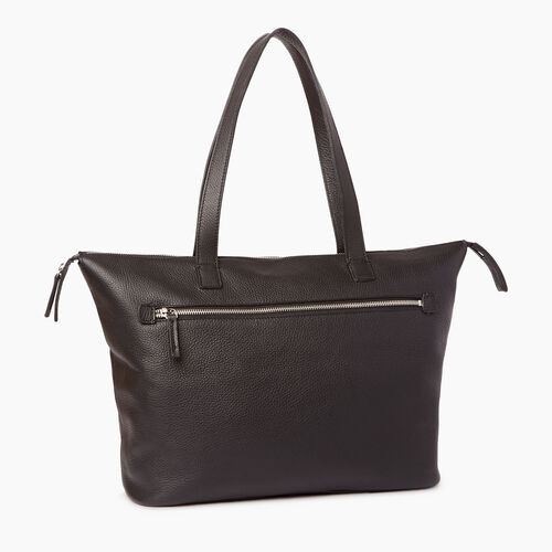Roots-Leather Shoulder Bags-Go To Bag-Black-A