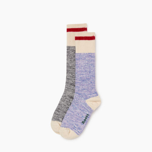 Roots-Women Accessories-Womens Cotton Cabin Sock 2 Pack-Purple-A