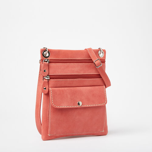 Roots-Sale Leather-Urban Pouch Tribe-Coral-A