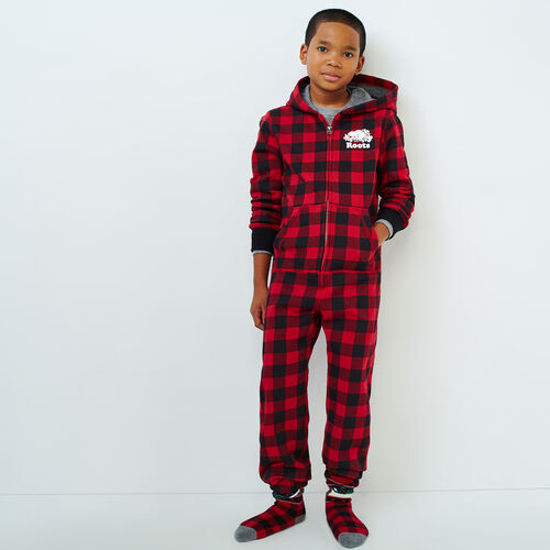 Roots-Sale Boys-Boys Roots Park Plaid Onesie-Cabin Red-A