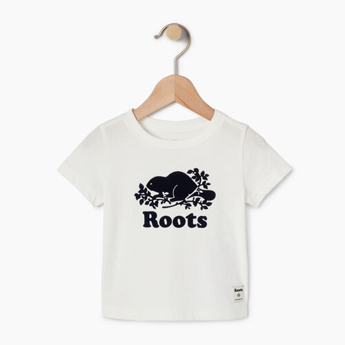Roots-Kids Our Favourite New Arrivals-Baby Original Cooper Beaver T-shirt-Cloudy White-A