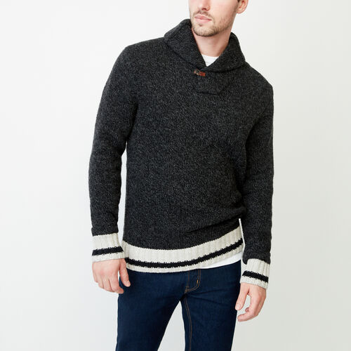 Roots-Men Our Favourite New Arrivals-Roots Cabin Shawl Pullover Sweater-Black Mix-A